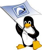 Arch Linux pingvin med flag